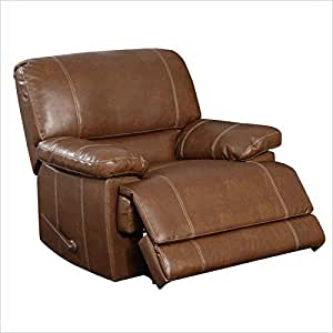 Global Furniture Bonded Leather Reclining Rocker, Brown