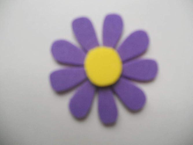 10 Flores de goma eva con 9 pétalos color morado oscuro y ...