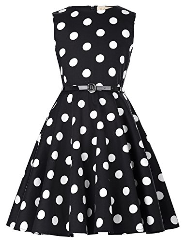 Kate Kasin Kids Vintage Dresses for Mother&Child Tea Party 11-12yrs,Black and white Dots