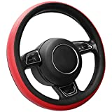 "SEG Direct Microfiber Leather Orange Steering Wheel Cover for Prius Civic 14"" - 14.25"""
