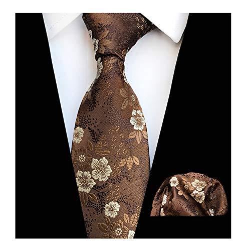 Mens Brown with White Floral Cravat Tie Set Boy Handmade Formal Business Necktie Nearwear
