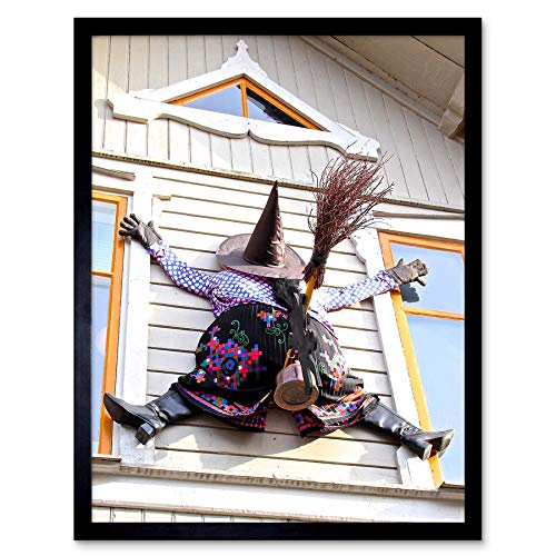 Wee Blue Coo Witch Halloween House Crash Window Art Print Framed Poster Wall Decor 12x16 inch -