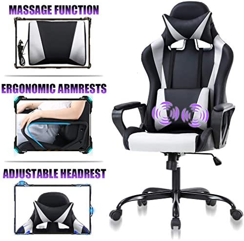 High Back Gaming Chair Ergonomic Racing Heavy Duty Office Chair Pc Video Game Chair, Massage Function Lumbar Support with Arms Headrest Chic Desk Chair, Swivel Adjustable Best Office Chair – White