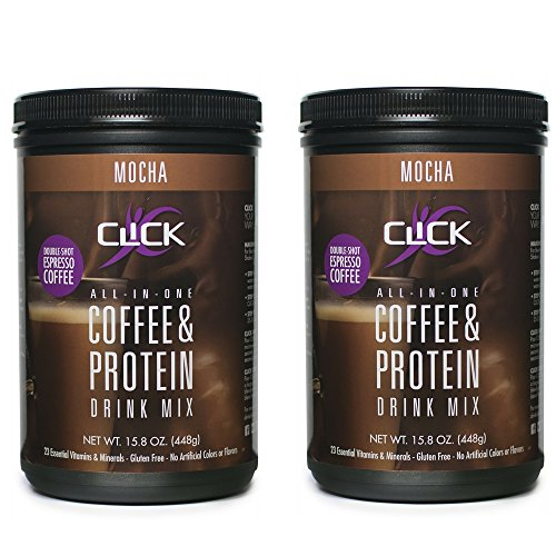 CLICK Espresso Protein Drink, Mocha (14-Servings), 15.8-Ounce Canister - Mocha (2 Pack)