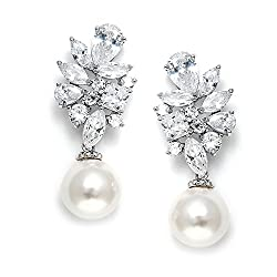 Light Ivory Pearl Drops Genuine Platinum Plated Earring
