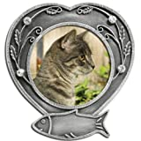 Banberry Designs Cat Memorial Frame - Metal Heart Shaped Picture Frame with Crystals - Cat Remembrance - Pet Memorial - Cat Picture Frame