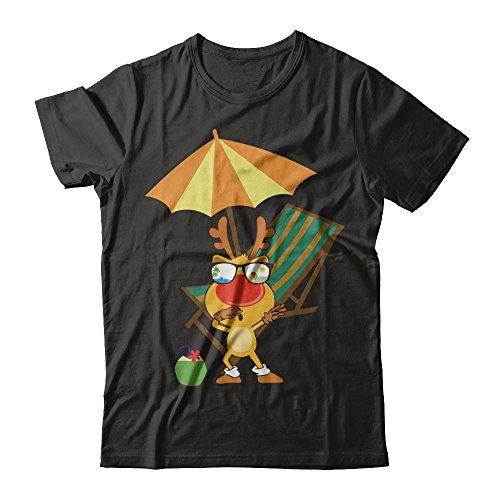 Teelesto Dabbing Reindeer with Sunglasses Shirt for Xmas in July 2018 (Large, ()