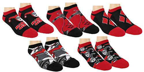 DC Comics Womens Harley Quinn Suicide Squad Ankle-No Show Socks 5 Pair Pack (Black/Red) Shoe Size 4-10
