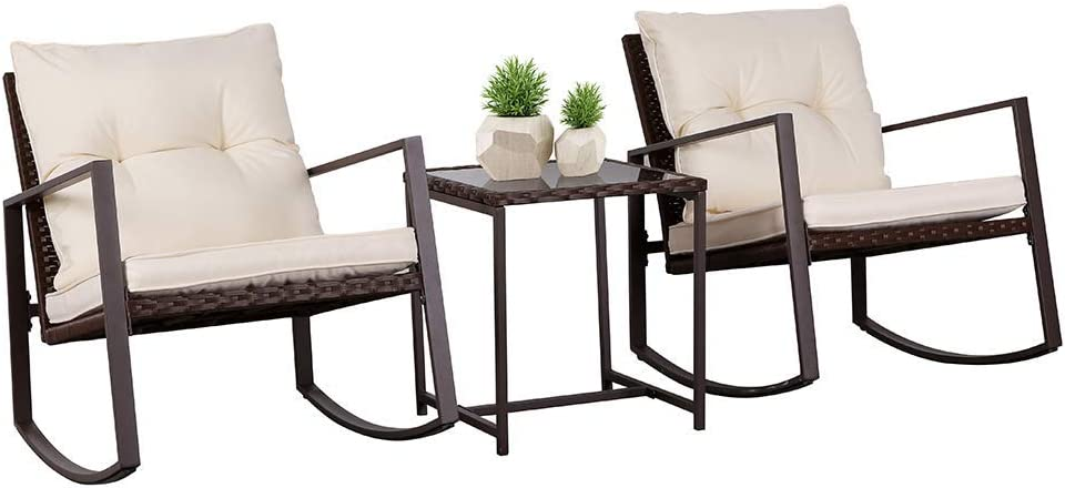SUNCROWN Outdoor Patio Furniture 3-Piece Bistro Set Brown Wicker Rocking Chair – Two Chairs with Glass Coffee Table Beige Cushion