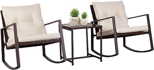 SUNCROWN Outdoor Patio Furniture 3-Piece Bistro Set Brown Wicker Rocking Chair