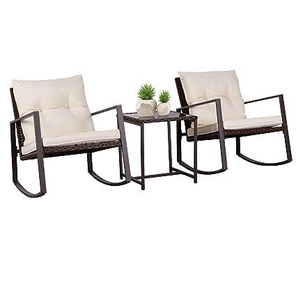 Outstanding Suncrown Outdoor Patio Furniture 3 Piece Bistro Set Brown Wicker Rocking Chair Two Chairs With Glass Coffee Table Beige Cushion Inzonedesignstudio Interior Chair Design Inzonedesignstudiocom