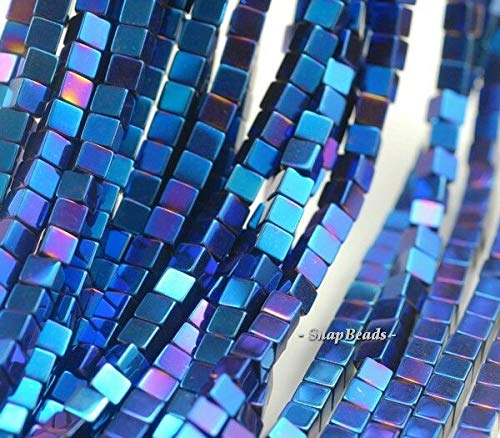 4X4MM Hematite Gemstone Blue Square Cube 4X4MM Loose Beads 16