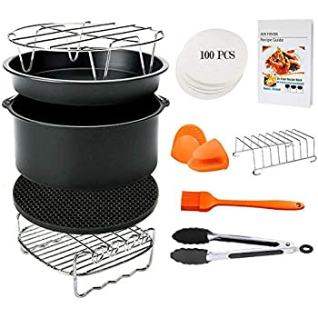 Air Fryer Accessories, 11pcs Baking Pan Set for Philips, Gowise, Nuwave, for All 4.2-5.8QT Air Fryer, Nonstick Pizza Cake Pans & Stainless Steel Skewer Rack Cookware Set for Oven Instant Pot