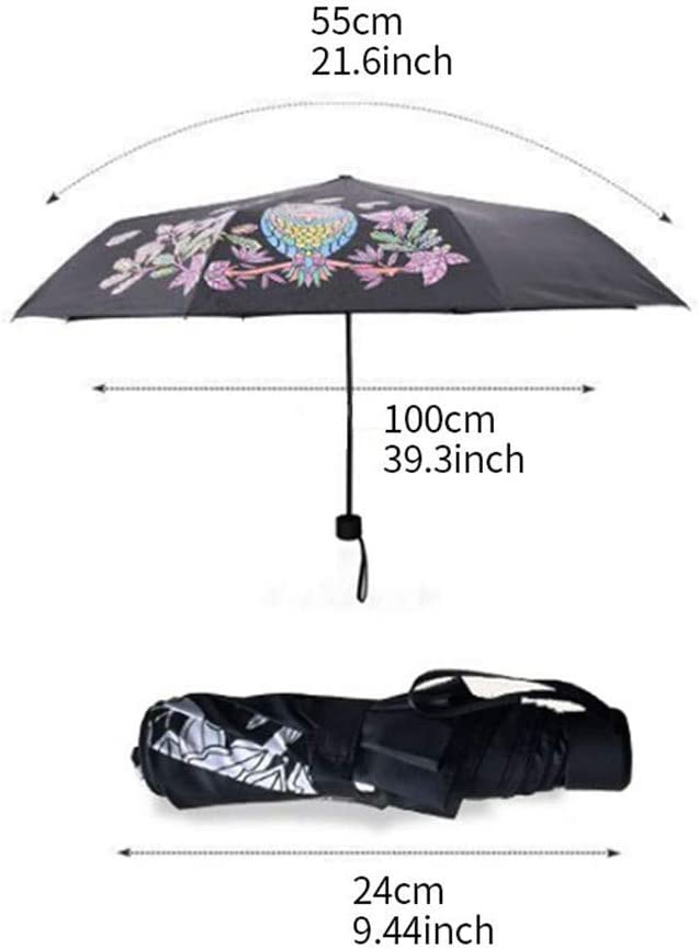 Gelaiken Sun Umbrella Multi Umbrella Owl Three Folding Uv-Protection Umbrellasagic Changing Color After Water Pocket Umbrella Rain Gear Portable Umbrella Lightweight Umbrella