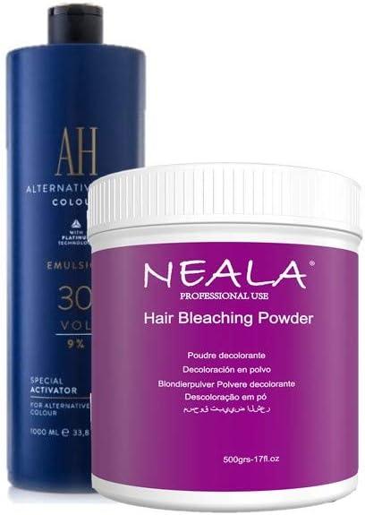 Kit decoloración sin amoniaco para el pelo Neala. Ideal mechas y decoloración cabello. Decolorante sin amoniaco azul en polvo 500ml. + Oxidante de ...