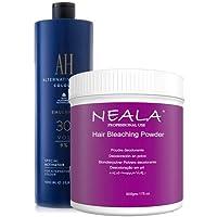 Kit decoloración sin amoniaco para el pelo Neala. Ideal mechas y decoloración cabello. Decolorante sin amoniaco azul en…