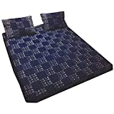 Ethnic Block Print Indigo Blue Tone Cotton Bedspread Bedding 3 Pcs Set King Size