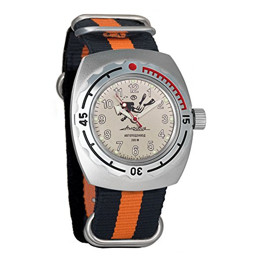 Divers Dial Orange Automatic (Vostok Amphibian Automatic Mens WristWatch Self-winding Military Diver Amphibia Case Wrist Watch #090658 Scuba Dude Beige Dial (black+orange))