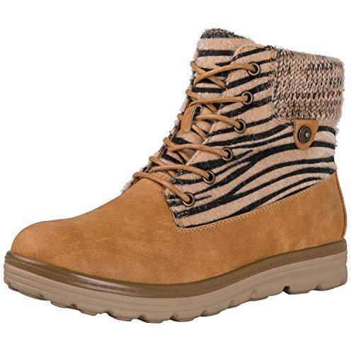 Camel Zebra (GLOBALWIN Women's 1832 Camel Zebra Stripe Boots 7M)
