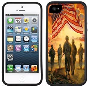 Army American Flag Handmade iPhone 5 Black Bumper Plastic Case