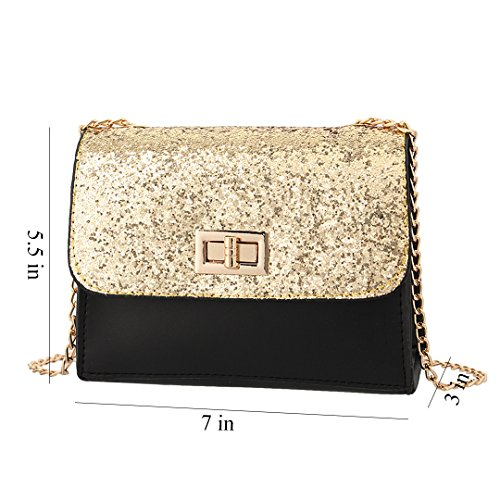 Shoulder Gold Women Candice Bag Crossbody Leather 1 Purse Sequins Bag Handbag PU Shiny 0gwaxFqP