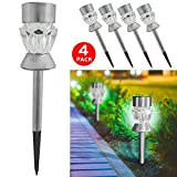4X Solar Post Lights for Garden and Table Lamp - Outdoor Pathway Border, Flowerbed or Patio Lighting - White