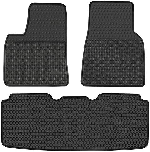 HD-Mart Car Floor Mats Custom Fit for Tesla Model S 2016 2017 2018 2019 2020 Full Black Rubber Auto Liners All Weather Protection Heavy Duty Odorless