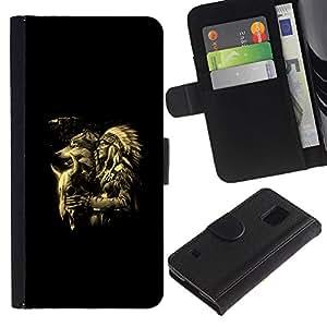 Paccase / Billetera de Cuero Caso del tirón Titular de la tarjeta Carcasa Funda para - Werewolf Totem Animal Indian Man Native - Samsung Galaxy S5 V SM-G900
