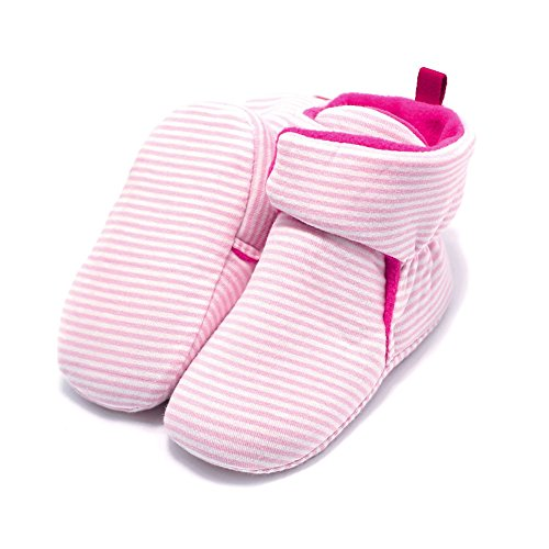 Haodasi Baby Schuhe Junge Mädchen Kleinkind Anti-Rutsch Hohe Stiefel Erstes Gehen Schuh 0-24 Monate 12 Farbe Rosa Streifen
