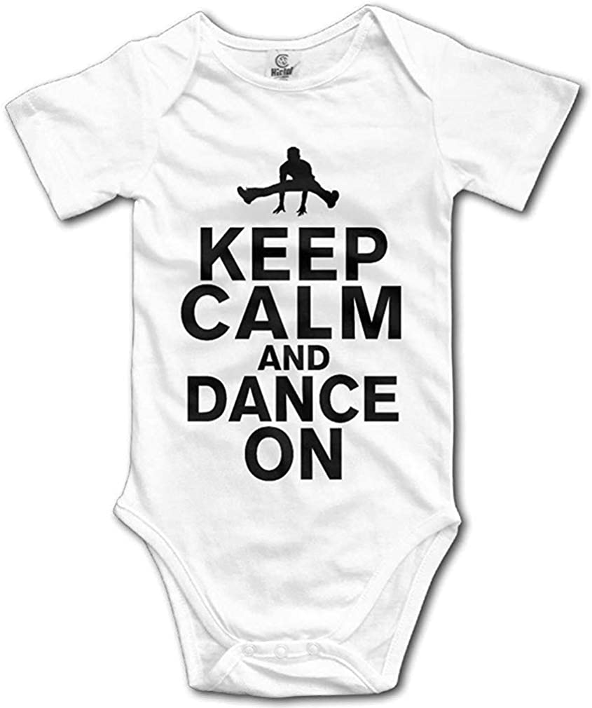 LittleHorn Keep Calm and Dance On Hip Pop Baby Short Sleeve Onesie Unisex Bodysuit Rompers