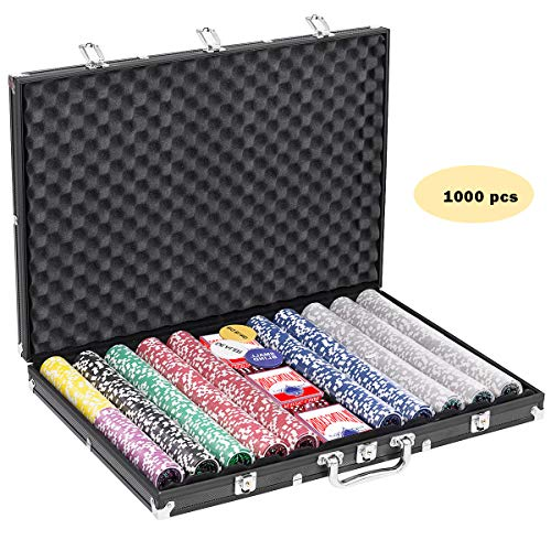 GOPLUS 1000PCS Poker Chip Set, 11.5 Gram Chips w/Aluminum Case, Table Top, Cards, Dices, Blind Buttons for Texas Holdem Blackjack Gambling (1000 pcs)