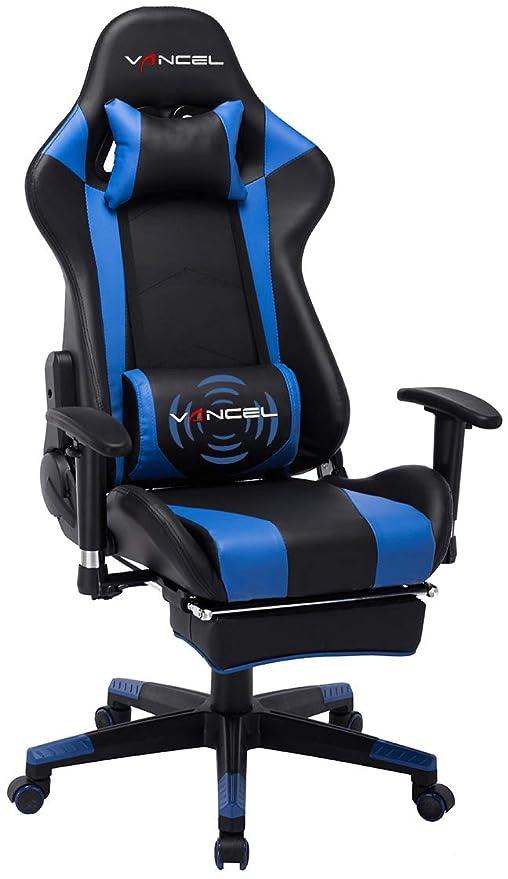 EAVANCEL Silla Gaming Sillones de Oficina Reclinable Ergonomica con Reposapiés Retráctil con Masaje Lumbar para Gamer (Azul)