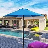 ABBLE Outdoor Patio Umbrella 7.5 Ft with Crank, Weather Resistant, UV Protective Umbrella, Durable, 6 Sturdy Steel Ribs, Market Outdoor Table Umbrella, Aqua