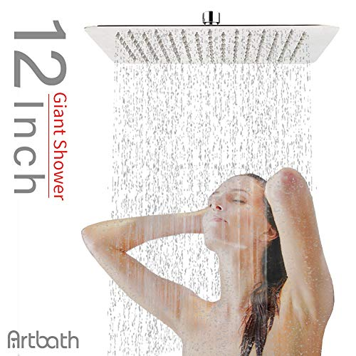 Artbath 12 Inch Rain Shower Head Square Stainless Steel Shower Body Extra Large Spary Wall or Ceiling Mount Fixed Showerhead, Chrome