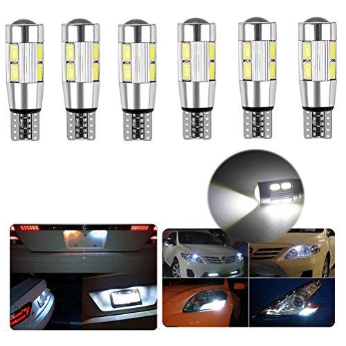 Ralbay Super Bright 6 x 10 SMD 5630 LED Remplacement Can-Bus éclairage intérieur Ampoule LED 3W DC 12V T10 W5W 194 168 2825 blanc 360 ° Angle de faisceau