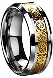 Dragon Scale Dragon Pattern Beveled Edges Celtic Rings Jewelry Wedding Band For Men Golden 8 to 13