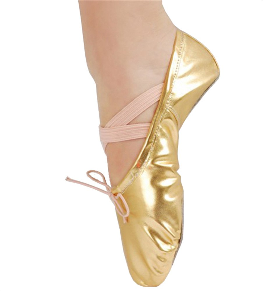 Girls Dotted Leather Ballet Belly Slippers Dance Shoes Split-Sole Gymnastics Yoga Shoes(5.5, Gold)