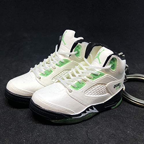 Pair Air Jordan V 5 Retro Quai 54 White Green Q54 OG Sneakers Shoes 3D Keychain Figure (Men Air Jordan V)