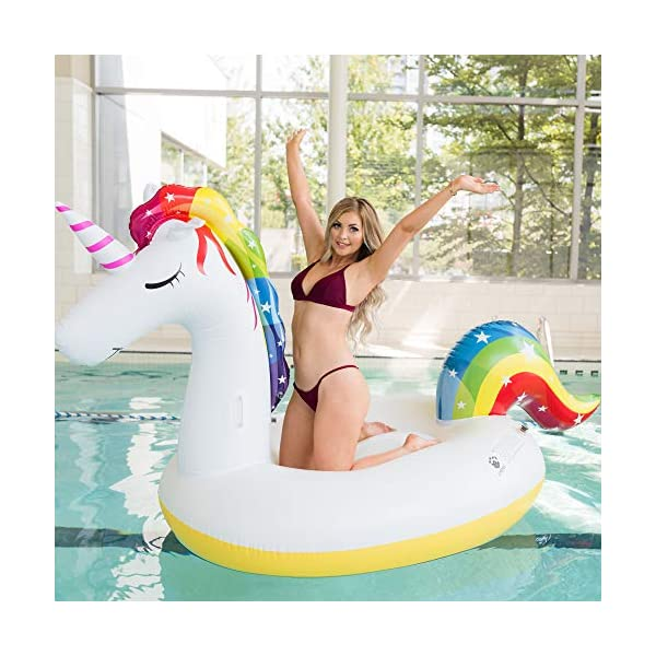 Giant Inflatable Unicorn Pool Float – Rapid Inflate and Deflate, Cup Holder, Safety Grab Handles, CE and SGS Certified… 5