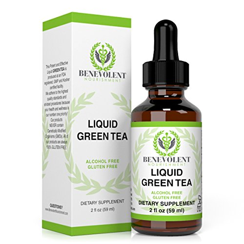 Green Tea Liquid Herbal Extract Supplement with EGCG Promotes Healthy Weight Loss - Guaranteed Potency - One Serving = 10 Cups Of Green Tea - Powerful Antioxidant - 100% Alcohol & Gluten Free, Non GMO
