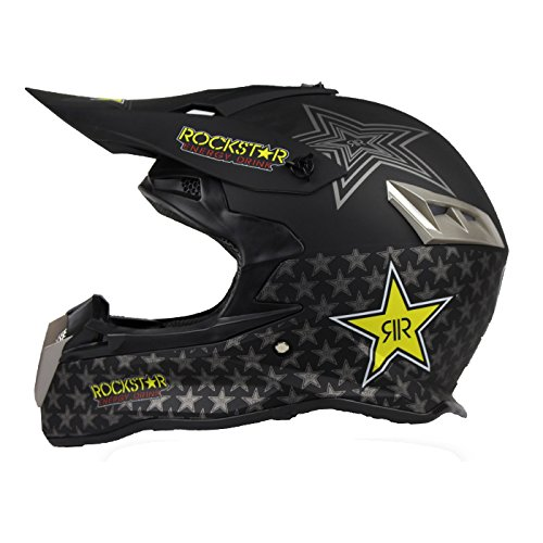 Woljay Dual Sport Off Road Motorcycle helmet Dirt Bike ATV D.O.T certified Rockstar Black (M) (Rockstar Dirt Bike Helmets)
