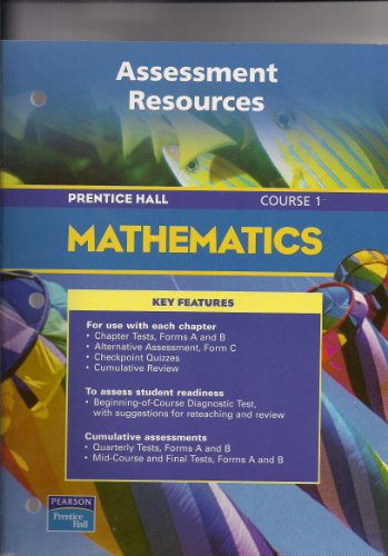 PRENTICE HALL MATH COURSE 1 ASSESSMENT RESOURCES BLACKLINE MASTERS      2004 C