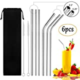 Stainless Steel Drinking Straws, 6 Pack Smoothie Straws with 2 Pack Cleaning Brushes in Black Storage Pouch, 8.5 inch Reusable Drinking Straws (3 Straight and 3 Bent Metal Straws) by QMAY