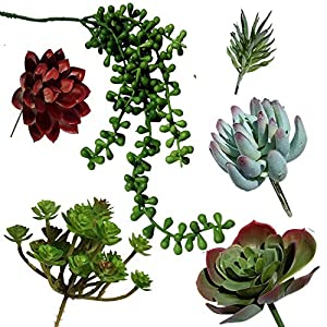 Plantastyck Artificial Succulent Plant Picks Unpotted Assorted Faux Echeveria - Fake Succulent 6 Pack in Greens & Red for Floral Arrangement Home Decor Wedding Fairy Garden Bouquet Centerpiece 32