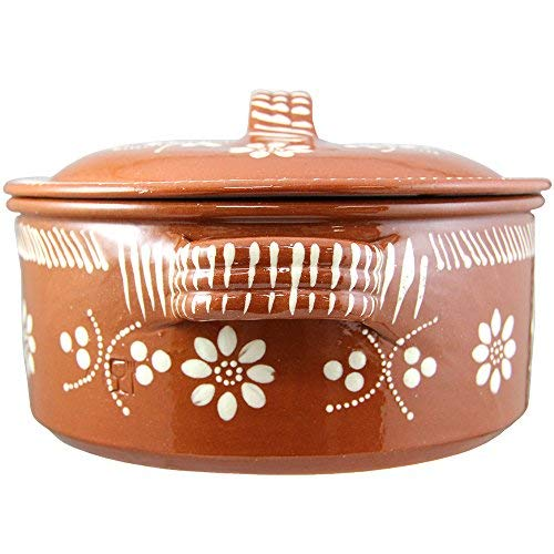 Vintage Portuguese Traditional Clay Terracotta Casserole With Lid Made In Portugal Cazuela (N.4 10 3/8 Diameter)