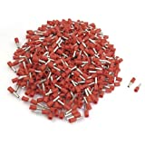 uxcell 1000 Pcs Red Pre-insulated Tube Terminals Cable Lug for 14 AWG E2508