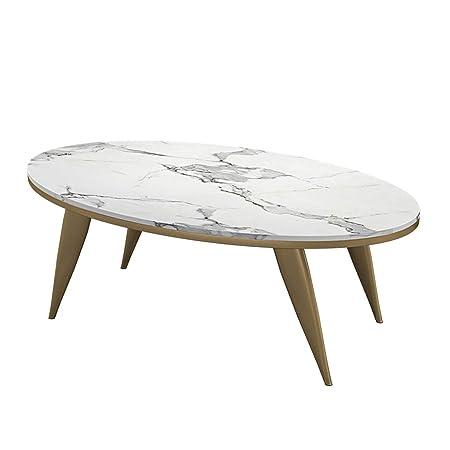 Mesa de Centro Moderna Oval de mármol sintético con Marco de Metal ...