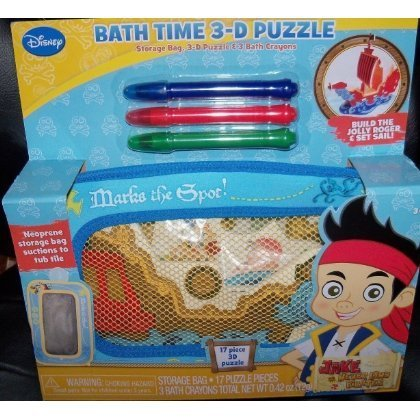 Disney Jake and the Never Land Pirates Bath Time 3d Puzzle & Bath Crayons, 5 Pc (Crayons Pirate)