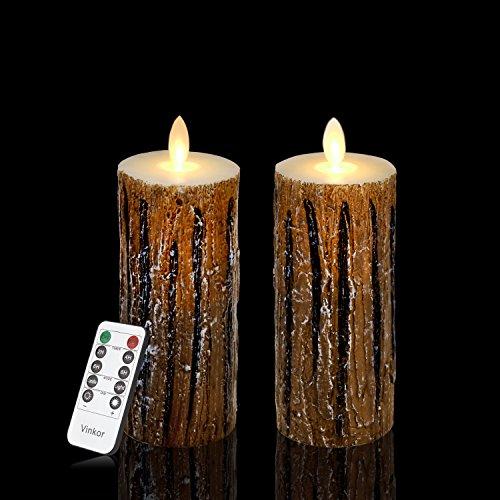 Light Bark One (Vinkor Flameless Candles Flickering Flameless Candles Set of 2 Decorative Flameless Candles: 6
