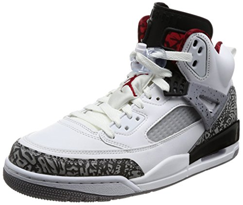 Jordan Nike Men's Spizike White/Varsity Red Cement Grey Basketball Shoe 10 Men US (Varsity Red Cement)